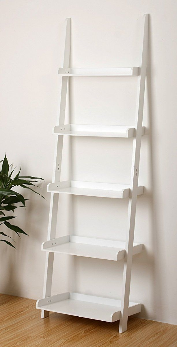5 Tier Bookcase Shelf Ladder In White Finish