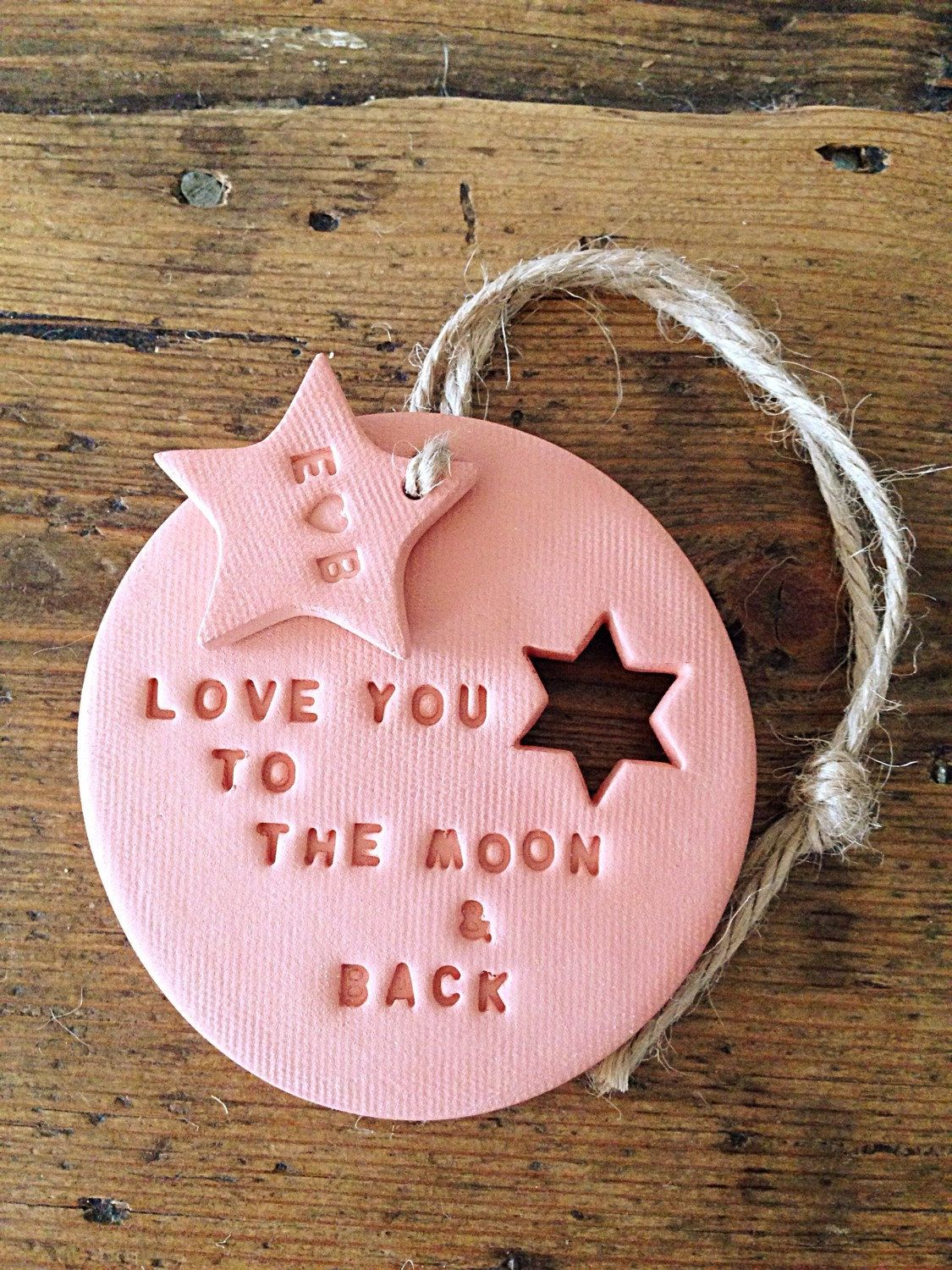 Love you to the moon: terracotta clay decoration & personalised tag ...