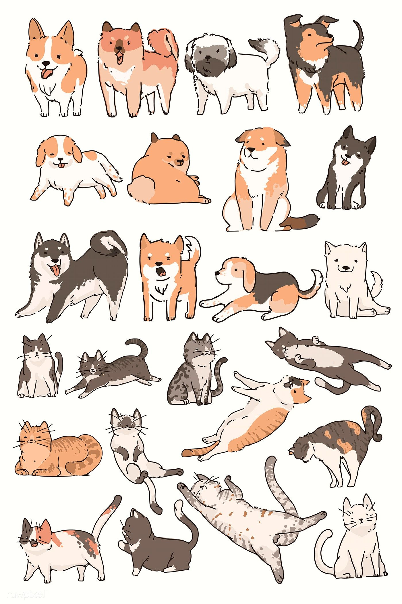Download Premium Illustration Of Cats And Dogs Doodle Vector Set