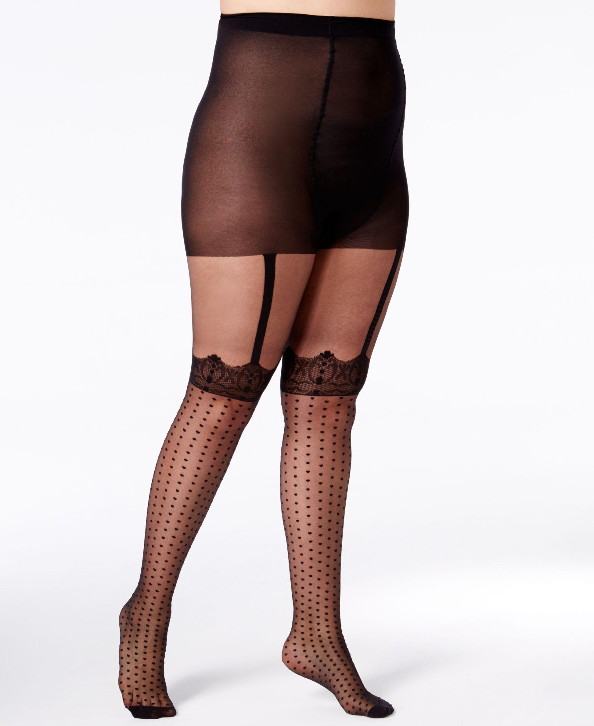 f4b30a82a51 Pretty Polly Plus Size Spotty Mock Suspender Tights