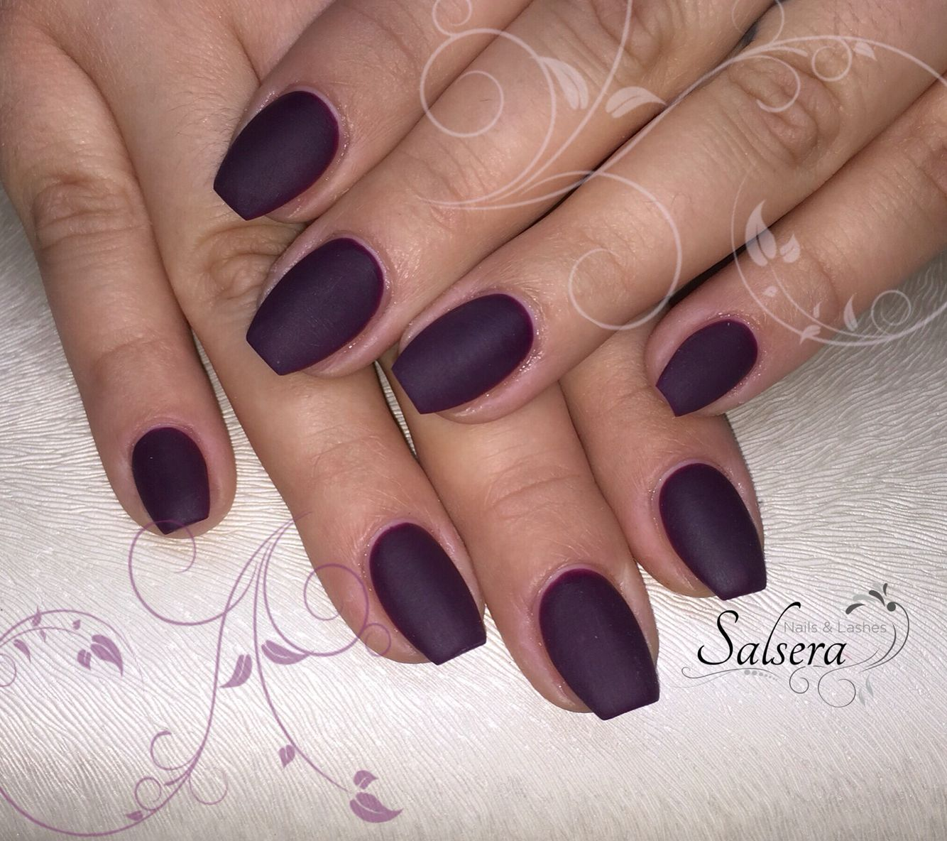 Nageldesign Ballerina Nails Nägel Ballerina Matt Plum Lila Bordeaux Fullcover