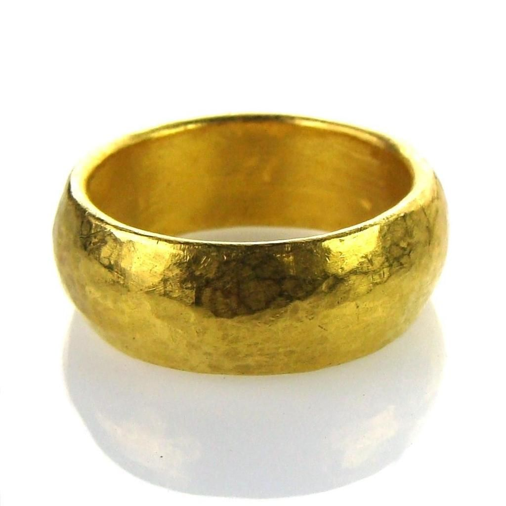 Hammered 24k Gold Band Ring Gold Band Ring 24k Gold Ring 24k Gold