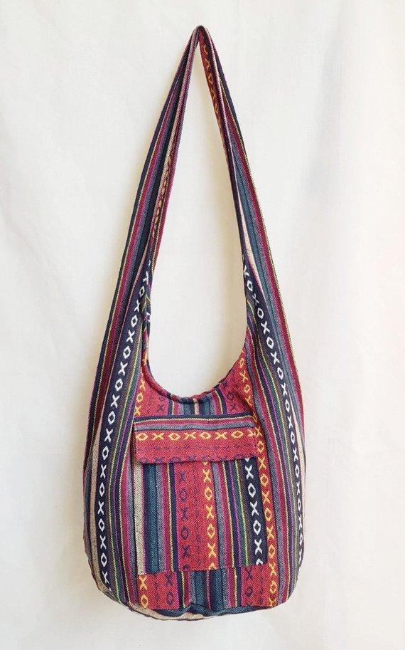 d5587a7289 Thai Handmade Yam Shoulder Bag Hippie Boho Sling Crossbody Bag Naga Cotton  Multi Color Unisex Bohemi