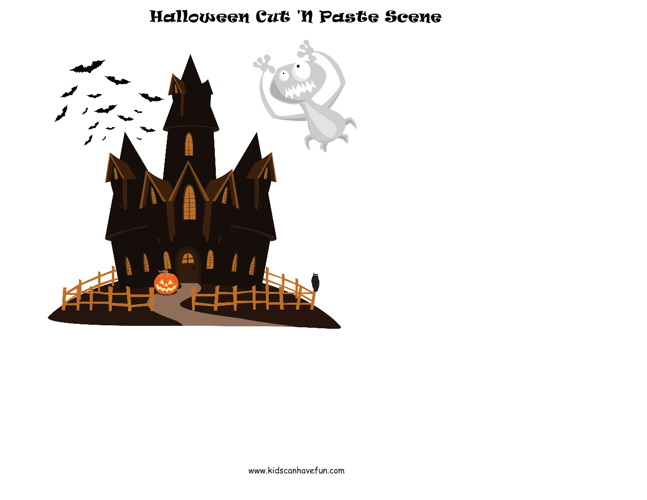 Halloween Cut And Paste Scene
