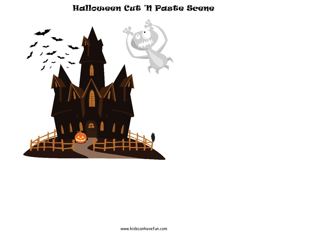 Halloween Cut And Paste Scene