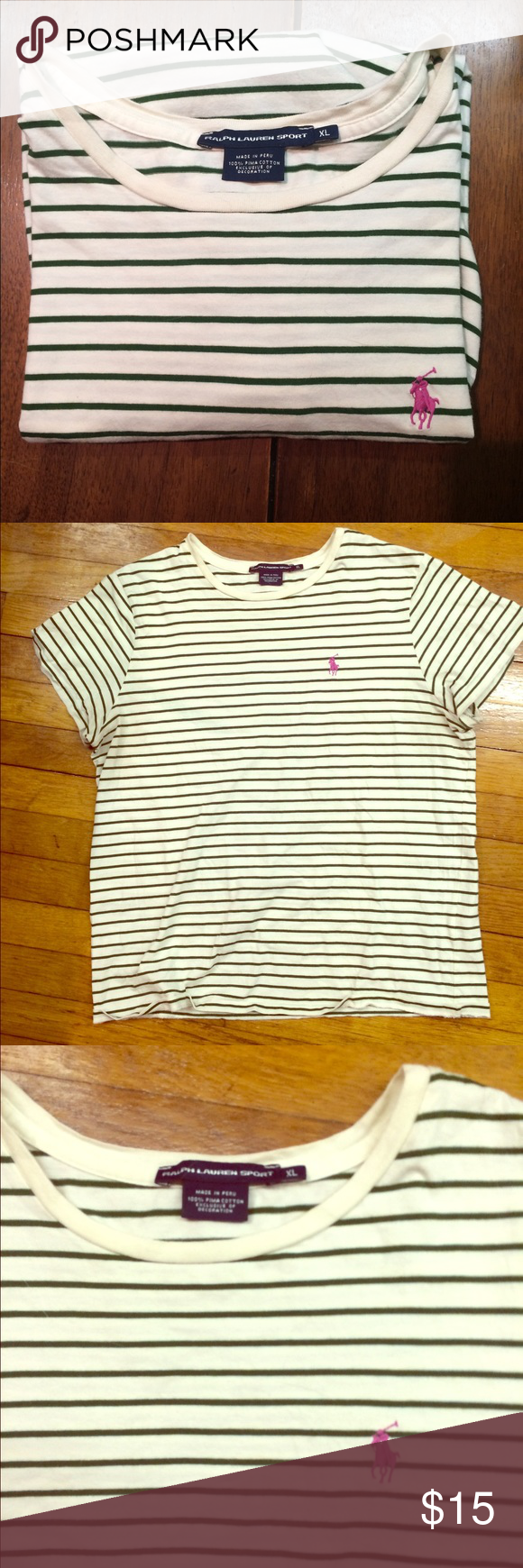 Unique Ralph Lauren sport tee Super comfy green and cream stripe t with fuchsia polo emblem.  Size XL but fits a size M  if you like a loose fit. Polo by Ralph Lauren Tops Tees - Short Sleeve