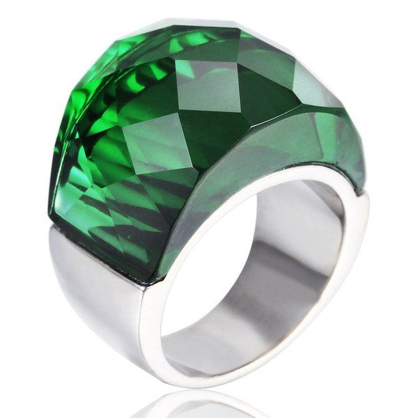 MASOP Women Big Single Stone Stainless Steel Statement Ring Silver Tone Green Size 7