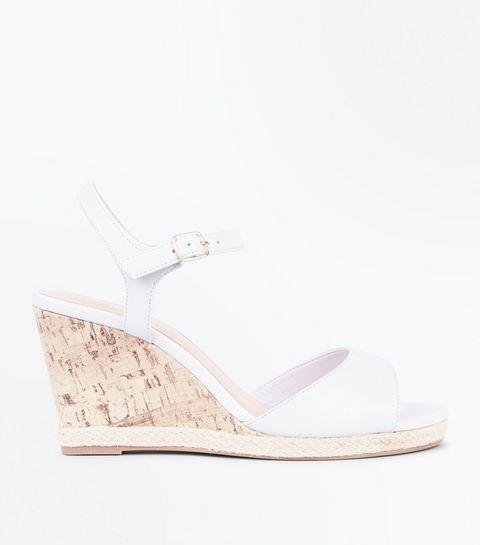 253eb7073b74 Wide Fit White Peep Toe Cork Wedges