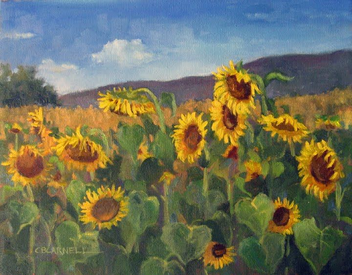 Sunflower Field Painting Sunflower Painting Sunflower Artwork
