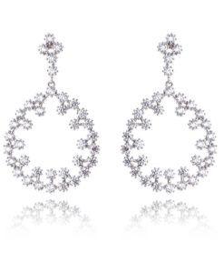 brinco da moda com zirconias cristais e banho de rodio semi joias de luxo