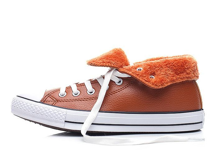 62103f565881e4 Brown Leather Converse Chuck Taylor All Star Fleece Inner High Tops Winter  Shoes  converse  shoes