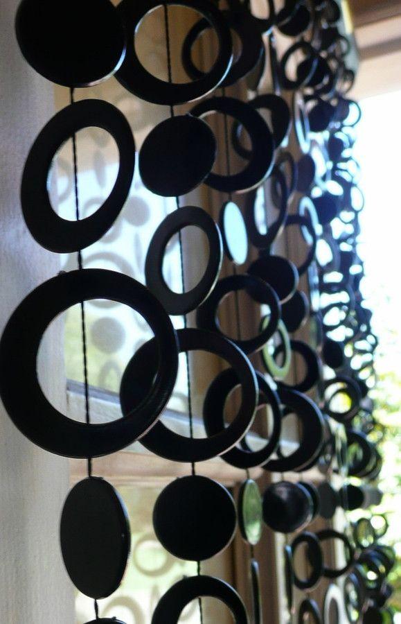 Long Black Retro Circles Beaded Curtain 8 Feet Beaded