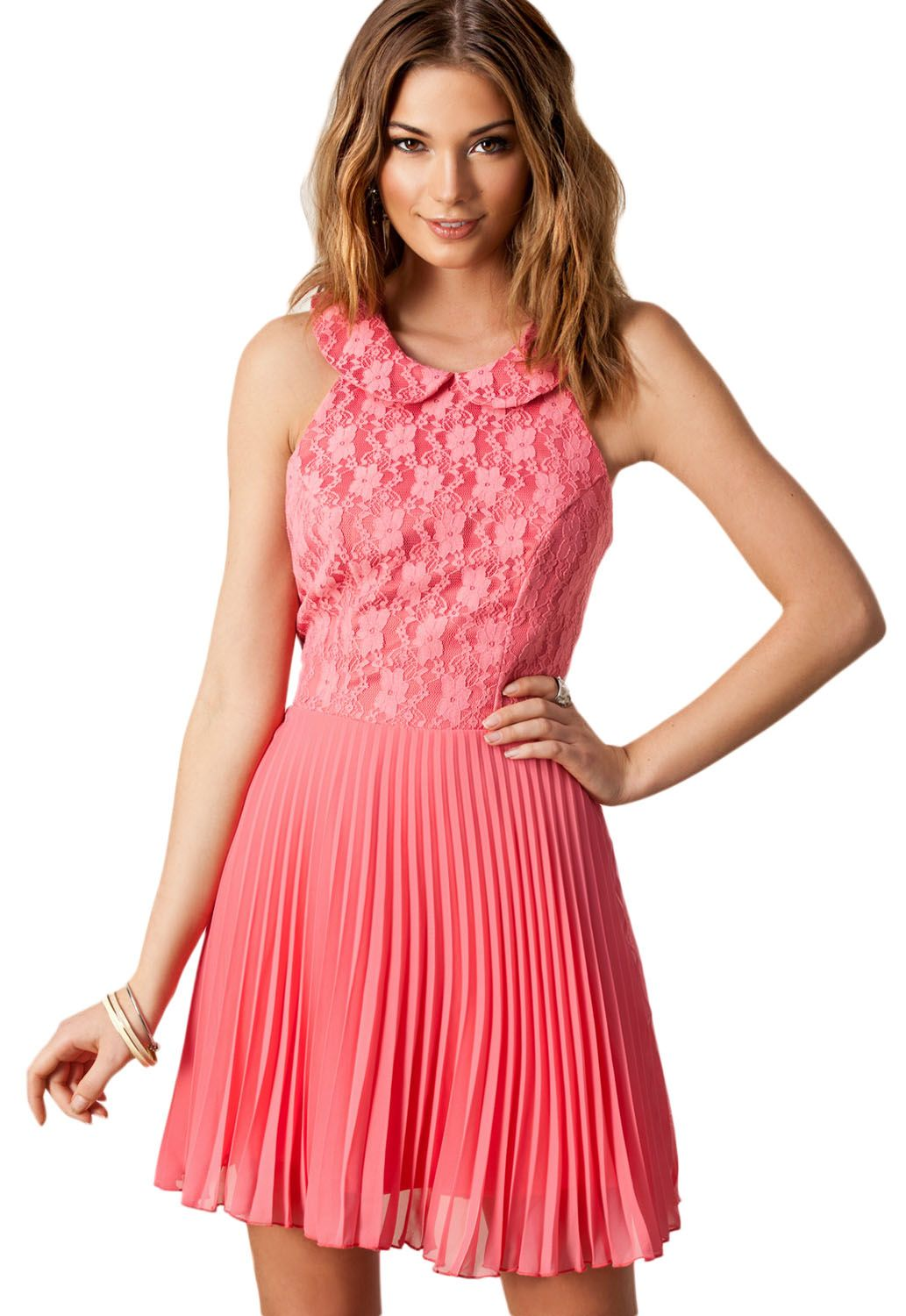 Pink Flower Lace Pleated Chiffon Evening Dress | Vestidos de fiesta ...