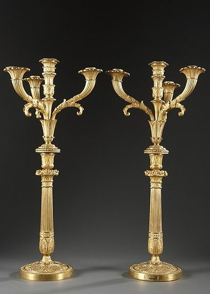 Pair of Gilt Bronze Charles X Candelabra