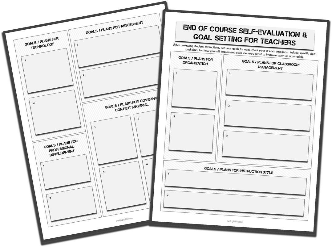 End of Year Teacher Goal-Setting Form based on a unique