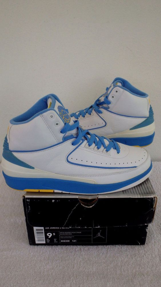1e8fb31d8724ba  308308-141  2004 Nike Air Jordan II 2 Retro MELO CARMELO WHT BLUE YELLOW  Sz9.5  Nike  BasketballShoes
