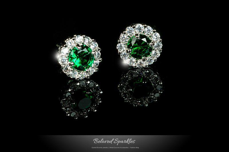 Jill Emerald Green Halo Stud Earrings