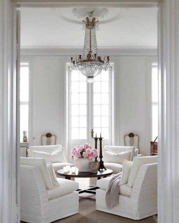 White and grand living. Inspiration via @lavenderhillinteriors ...