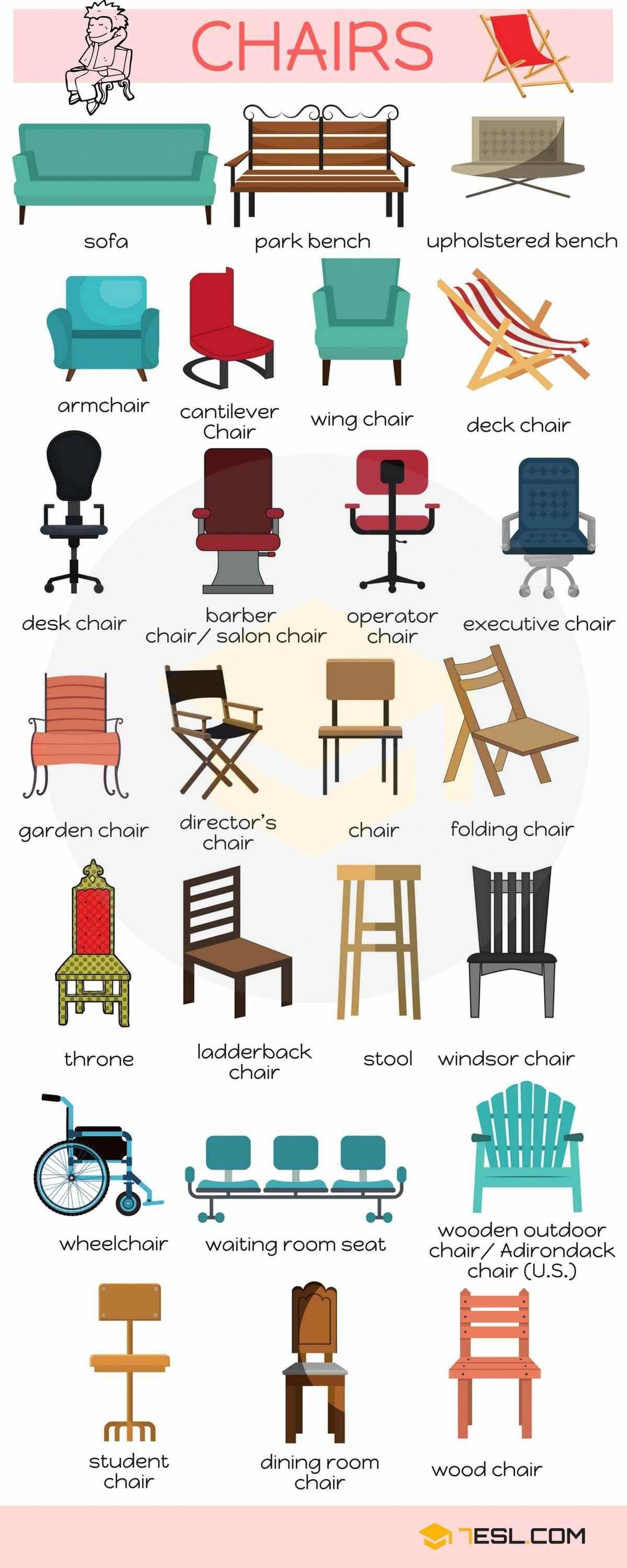 English Vocabulary Different Types Of Chairs Esl Buzz Coursanglais English Vocabulary Learn English Vocabulary English Language Learning