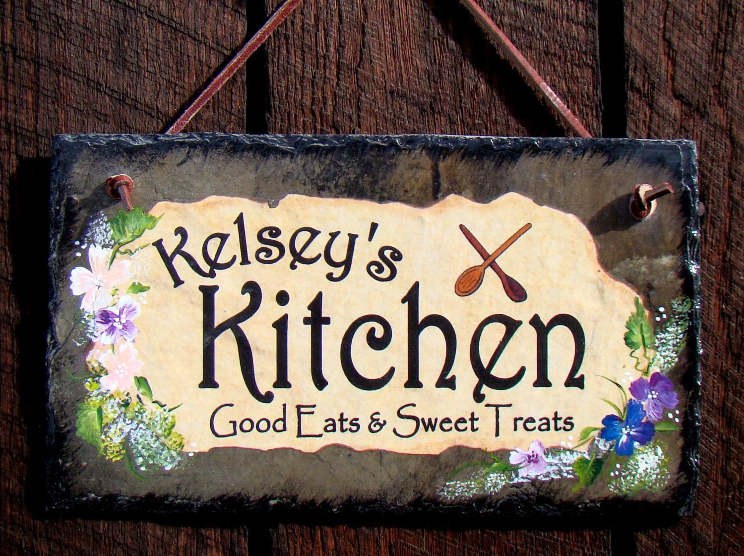 Custom Personalized Kitchen Sign Rustic Slate With Hand Painted Flowers  Design On The Side Primitive Shabby Chic So Cute And Unique