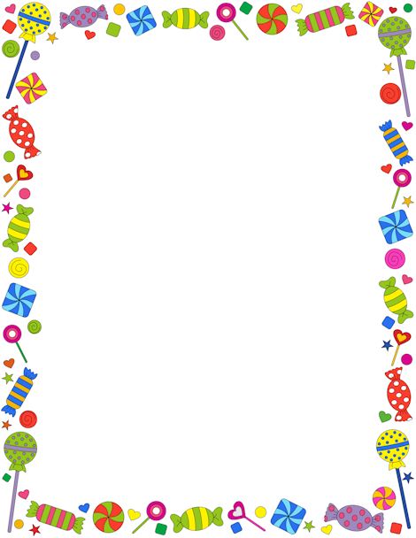 A candy-themed page border. Free downloads at http