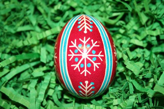 Red White and Blue Snowflake Ukrainian Egg by StiglianoDesigns, $15.00
