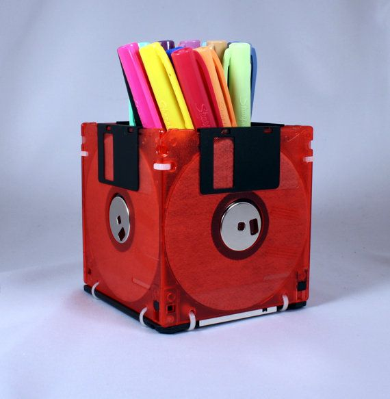 Floppy Disk Pen and Pencil Holder (TRANSLUCENT RED). $6.99, via Etsy.