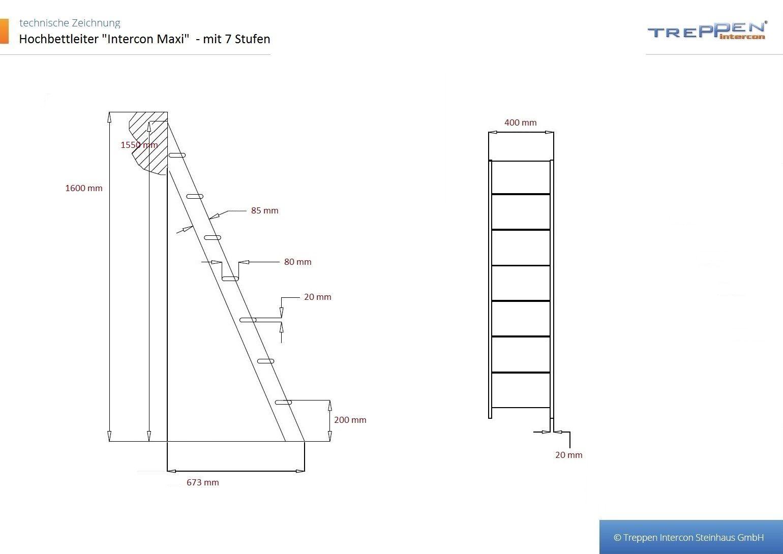Raumspartreppe hochbettleiter leiter für etagenbett anlegeleiter