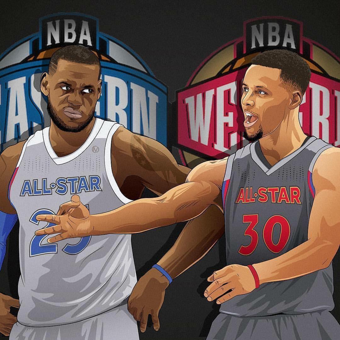 """6,165 次赞、 93 条评论 - Basketball Forever (@basketballforever) 在 Instagram 发布:""""NBA All-Star Game 2017 about to tip off! Who you got? East or West? @cmineses_designs"""""""