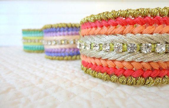 FRIENDSHIP BANGLE bracelet with rhinestone crystal by mySTYLELATTE, $36.00