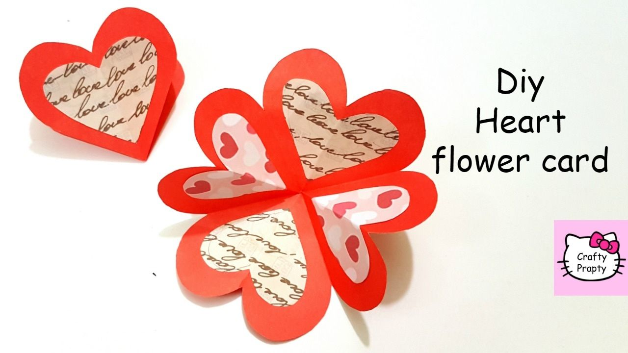 Diy Heart Flower Card Diy Handmade Card Tutorial For Scrapbook