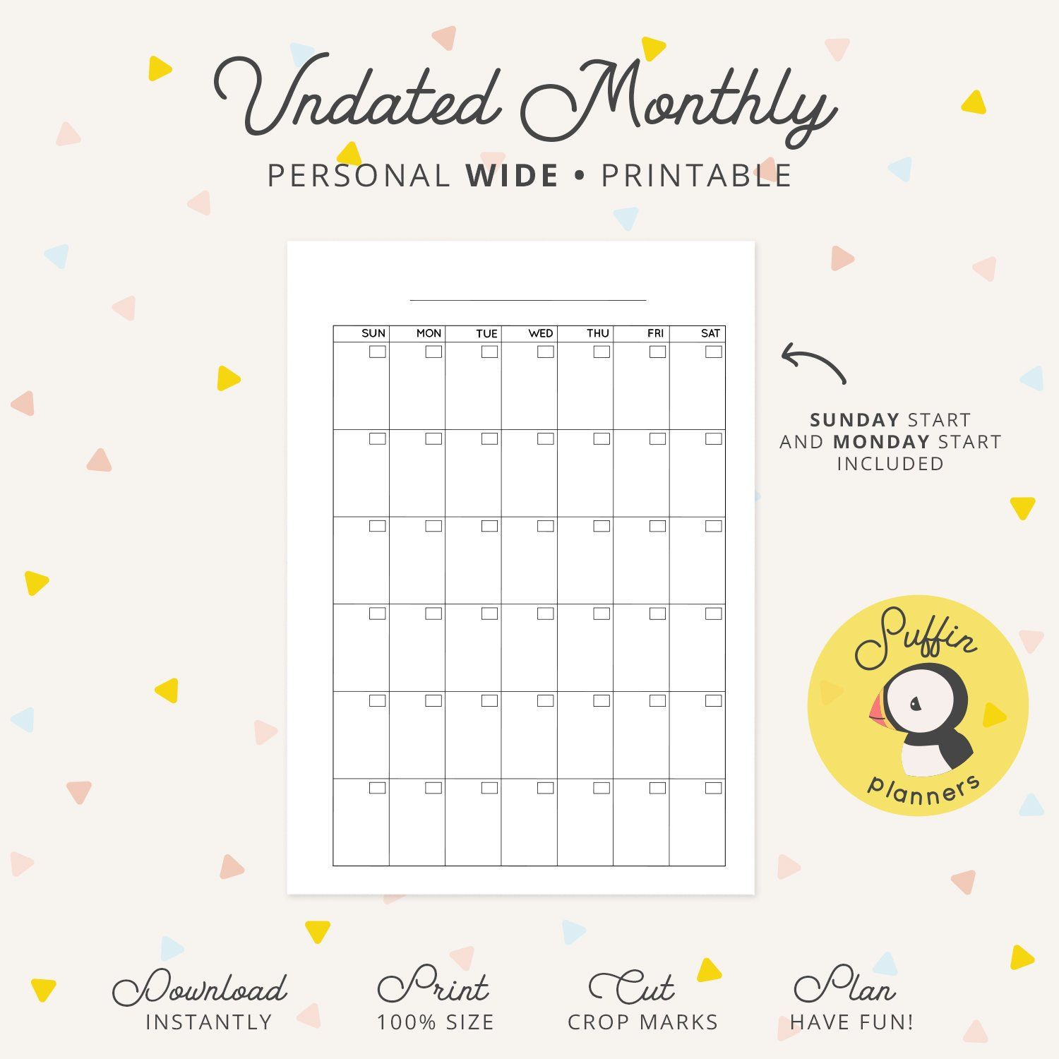 Undated Monthly Calendar Personal WIDE Ring Printable