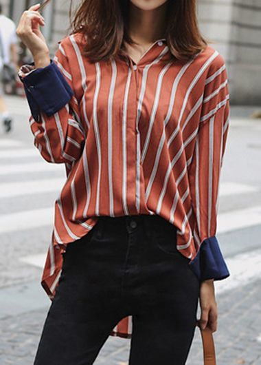 a7137f41e3fb98 Long Sleeve Striped High Low Blouse on sale only US$32.06 now, buy cheap  Long Sleeve Striped High Low Blouse at liligal.com