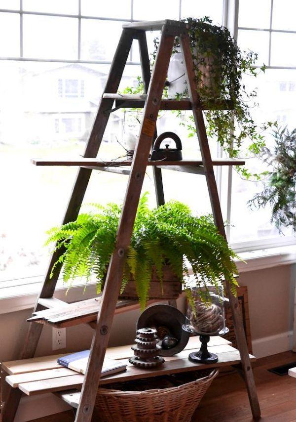alte holzleiter deko zu hause regale blumentreppe wohnung m bel blumenst nder und garten. Black Bedroom Furniture Sets. Home Design Ideas