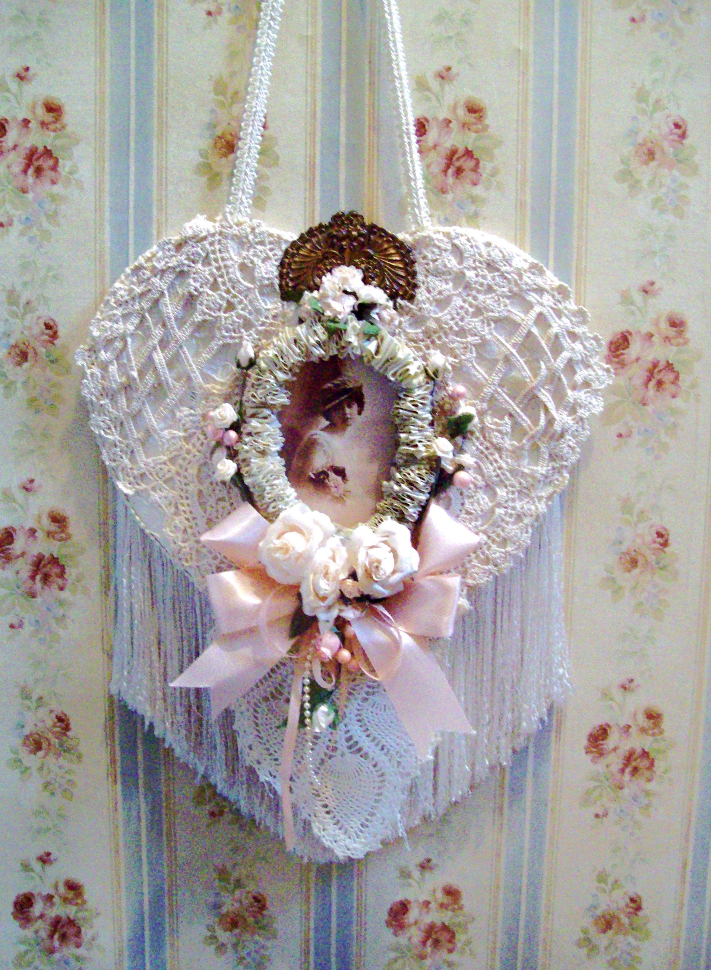 vintage lace heart collage...ETSY | Pure Cottage Home | Pinterest ...