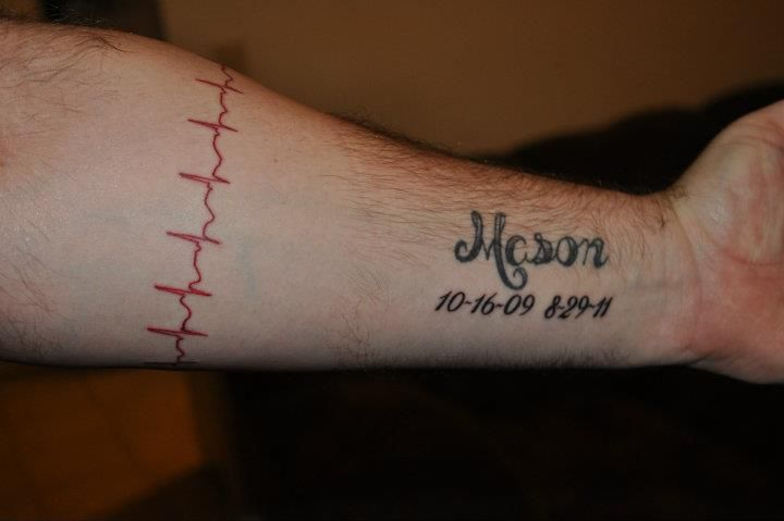 One Of Daddy Jason S Tribute Tattoos Mason S Name Heartbeat Tribute Tattoos Mason Name Tattoos