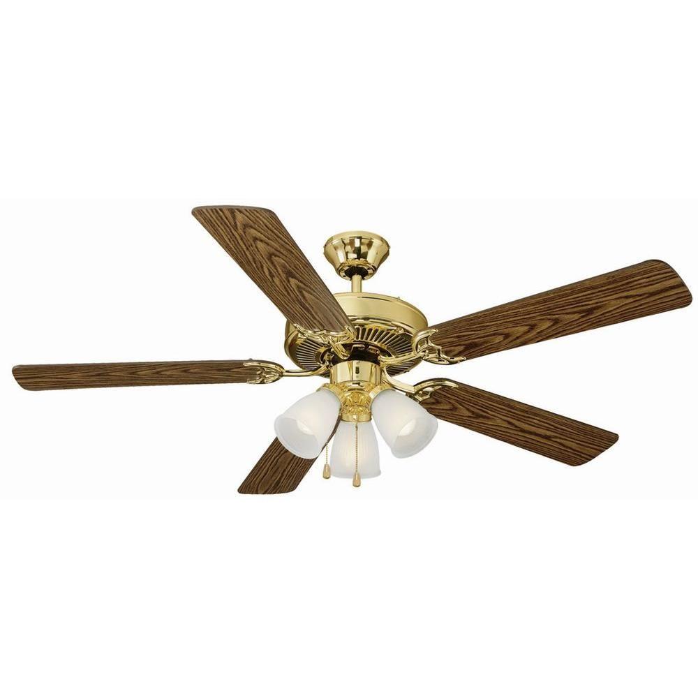 Design House Millbridge 52 In Polished Brass Ceiling Fan 153940 The Home Depot
