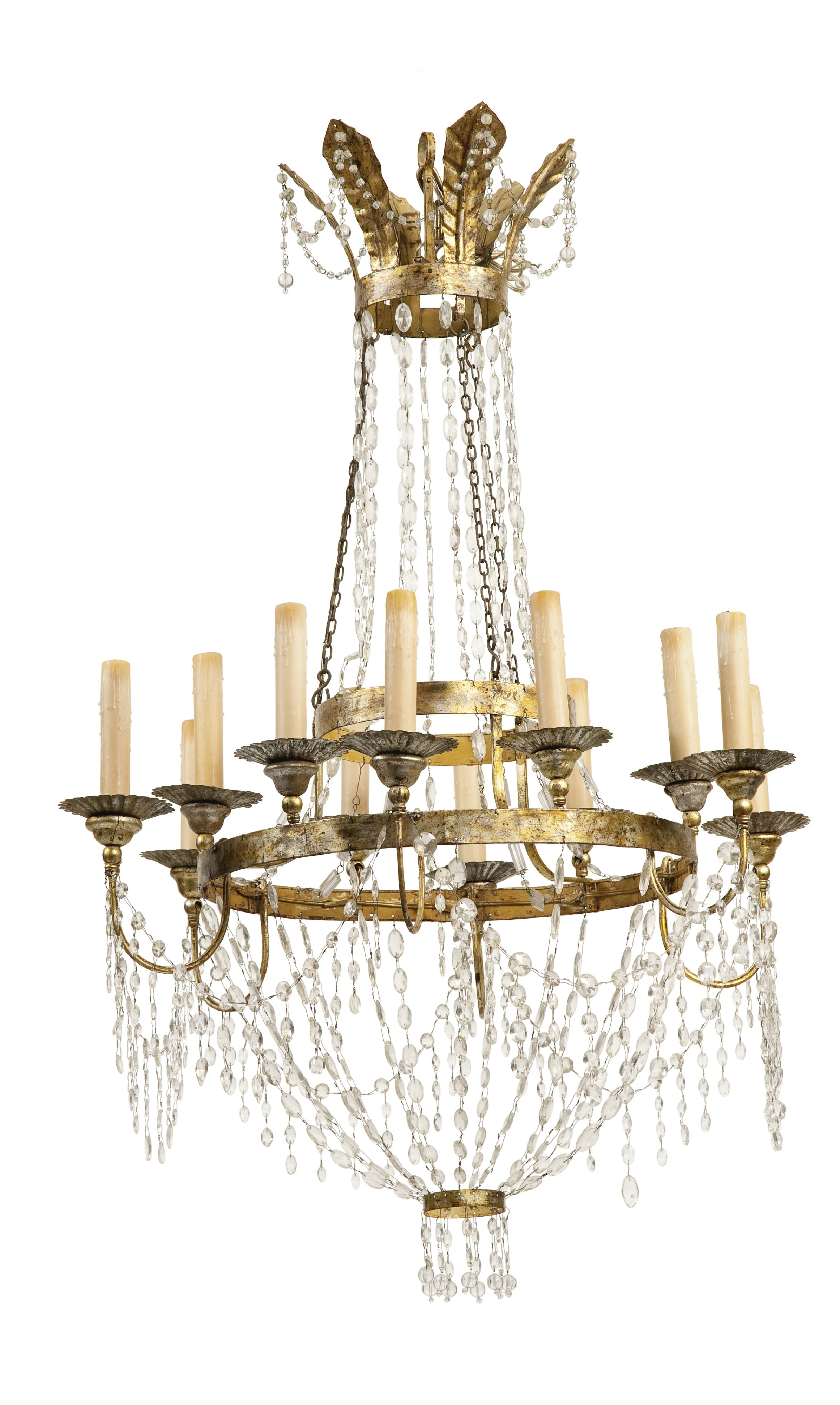 A PAIR OF SPANISH NEOCLASSICAL CUT GLASS MOUNTED GILT METAL TWELVE  LIGHT  CHANDELIERS