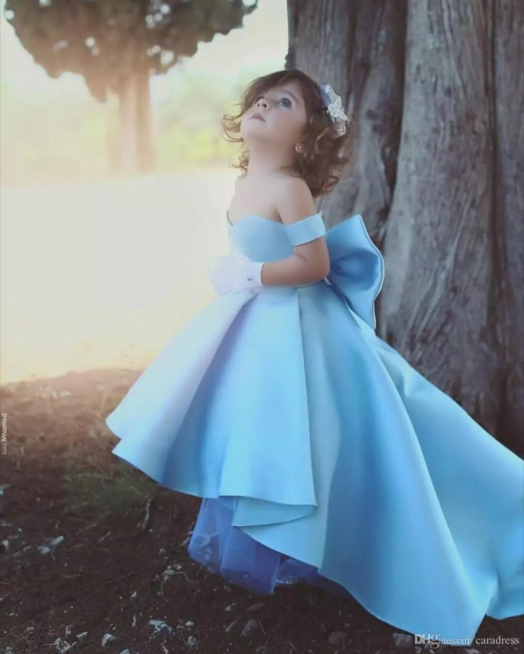 d9cfd33f1 Cute Baby Blue Flower Girls Dress With Big Bow High Low Sweetheart A Line  Kids Gowns Off Shoulder Stain Children Birthday Party Gowns Dress For Girls  Simple ...