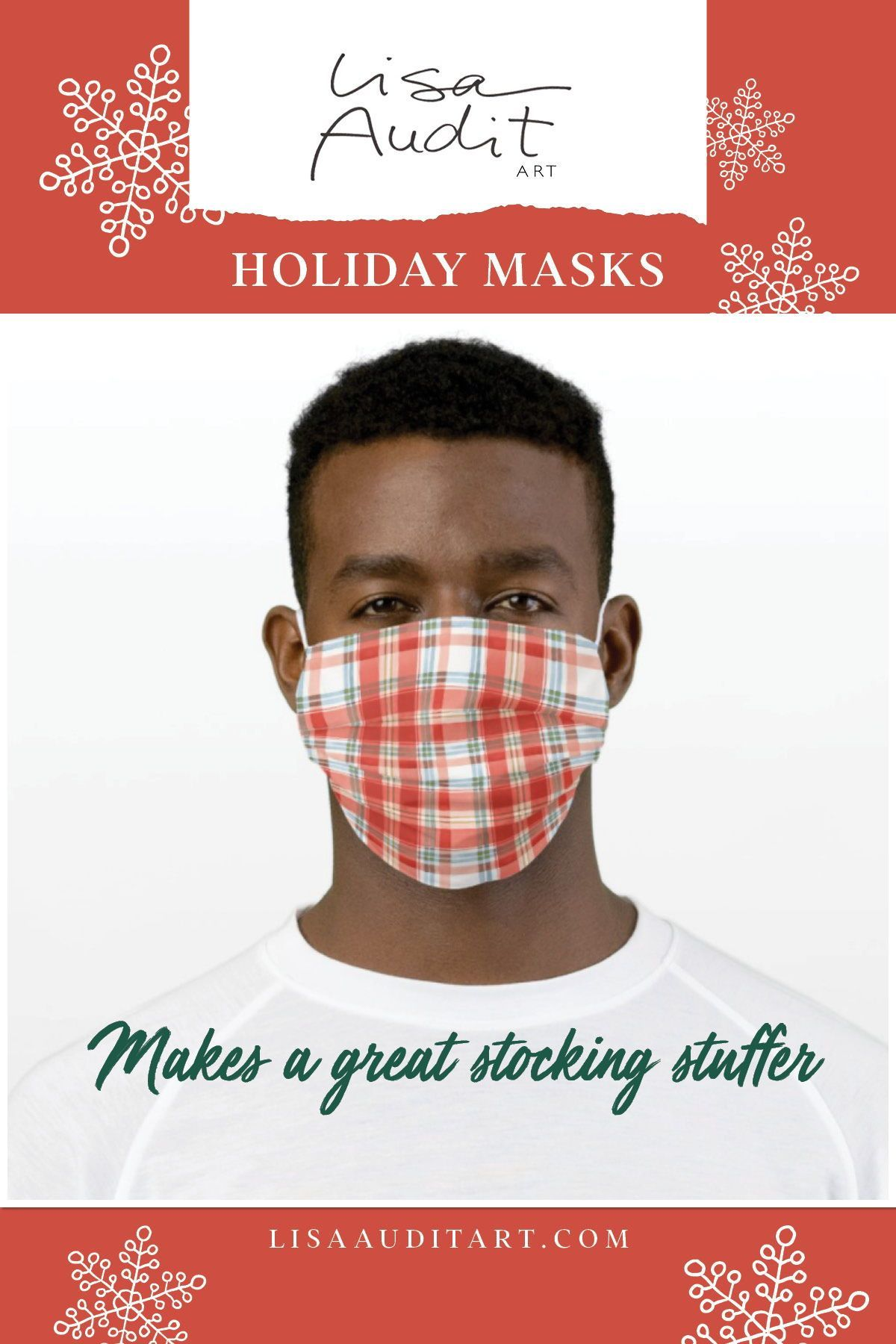 A festive red, white, and blue face mask to bring a smile to you and those around you this holiday season. Plus it is the perfect stocking stuffer! #christmasplaid #facemask #christmasmask #festivemask #stockingstuffer #christmas #safechristmas