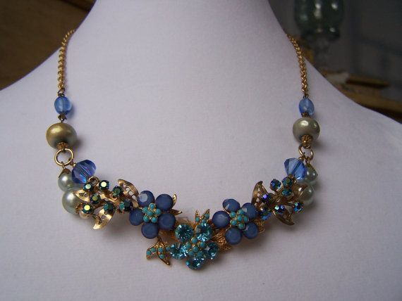 Original Upcycled Bib Necklace Repurposed by theglassfeathernest, $75.00
