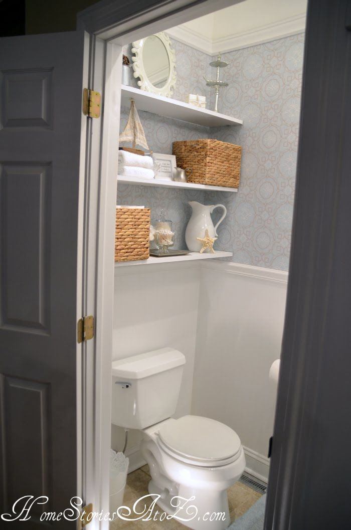 Half Bath Reveal Powder Room With Images Shelves Over Toilet