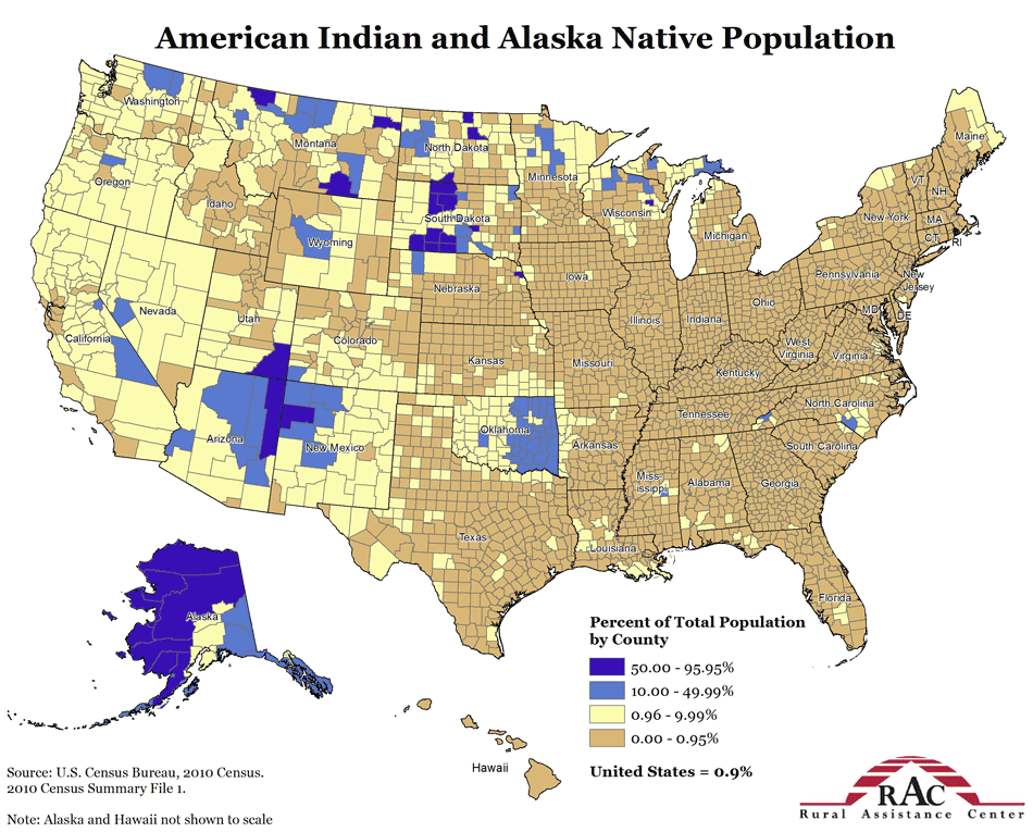 American Indian And Alaska Native Population American Maps - Map of native american reservations in the us