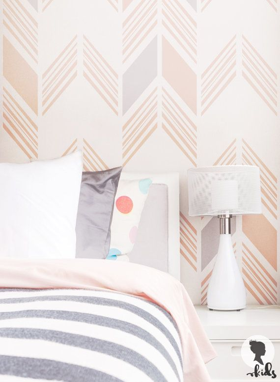 Pink Herringbone Nursery Wallpaper Bohemian Baby Room Etsy Nursery Wallpaper Herringbone Wallpaper Removable Wallpaper