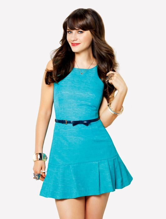 aae9c89d2f zooey deschanel new girl style. Bright Blue Dress with Bow Belt – Photoshoot