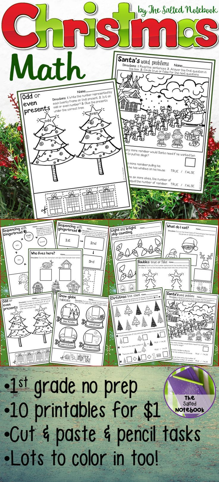 worksheet Visual Discrimination Worksheets For First Grade christmas math activities maths and for first grade higher level kindergarten no prep cut and