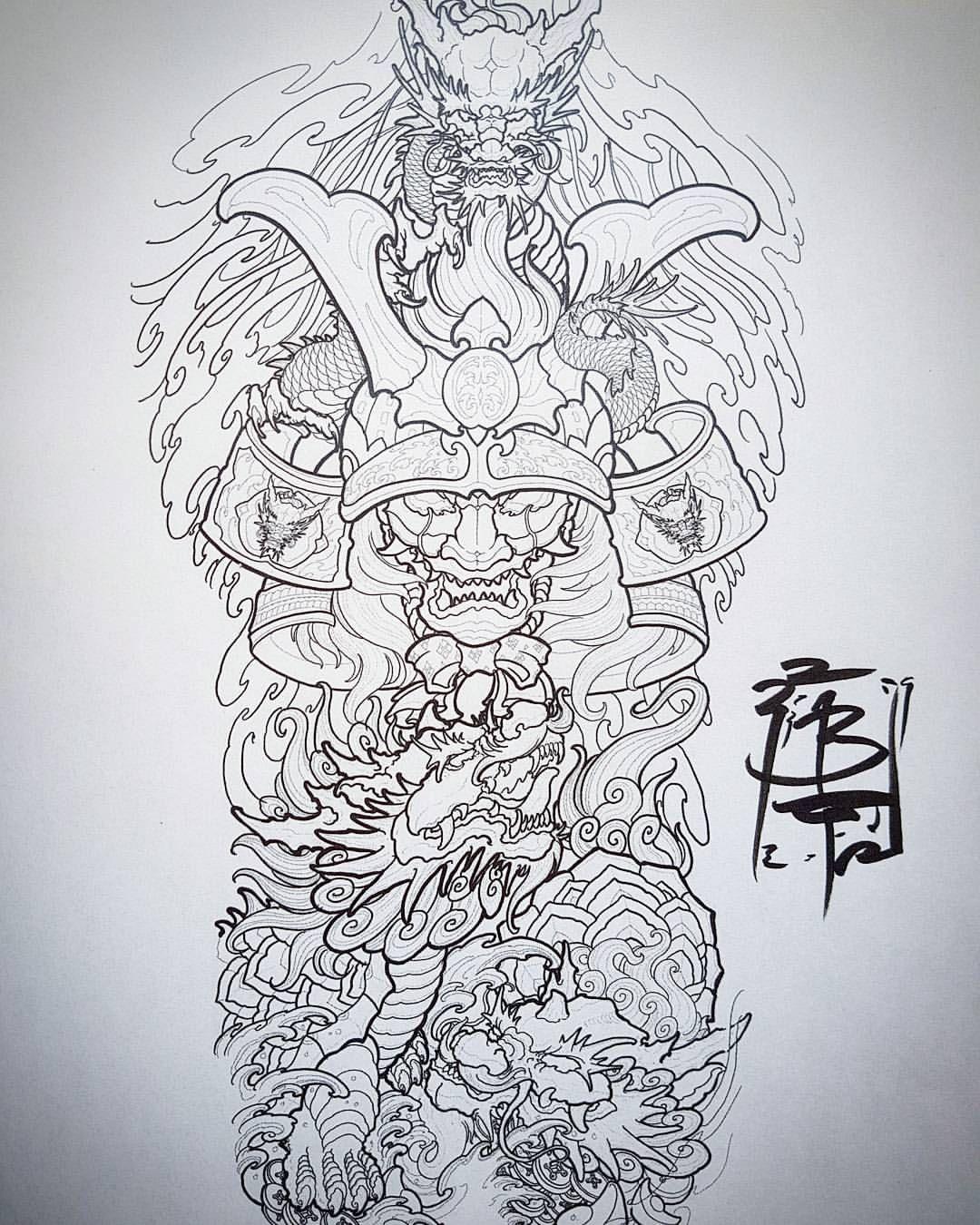 f861df277 Drawing for the turtleback i just started, dragon 🐉 hanya samurai 👹 and a couple  dragon turtles 🐢🐢 #tattoos #fullback #tattoo #tiger #snake…