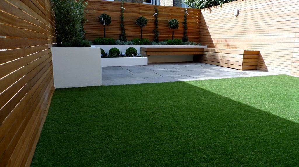 Artificial Grass Garden Designs artificial grass laid in square back garden amazonartificialgrassie Explore Modern Courtyard Modern Garden Design And More