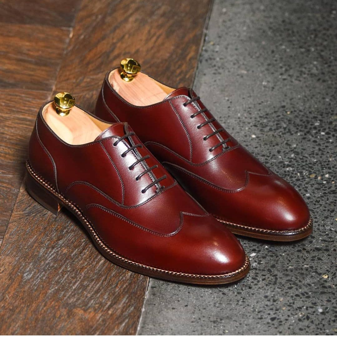 Handmade Mens Burgundy Color Shoes, Mens Wing Tip Lace Up Leather Fashion Shoes | Leather