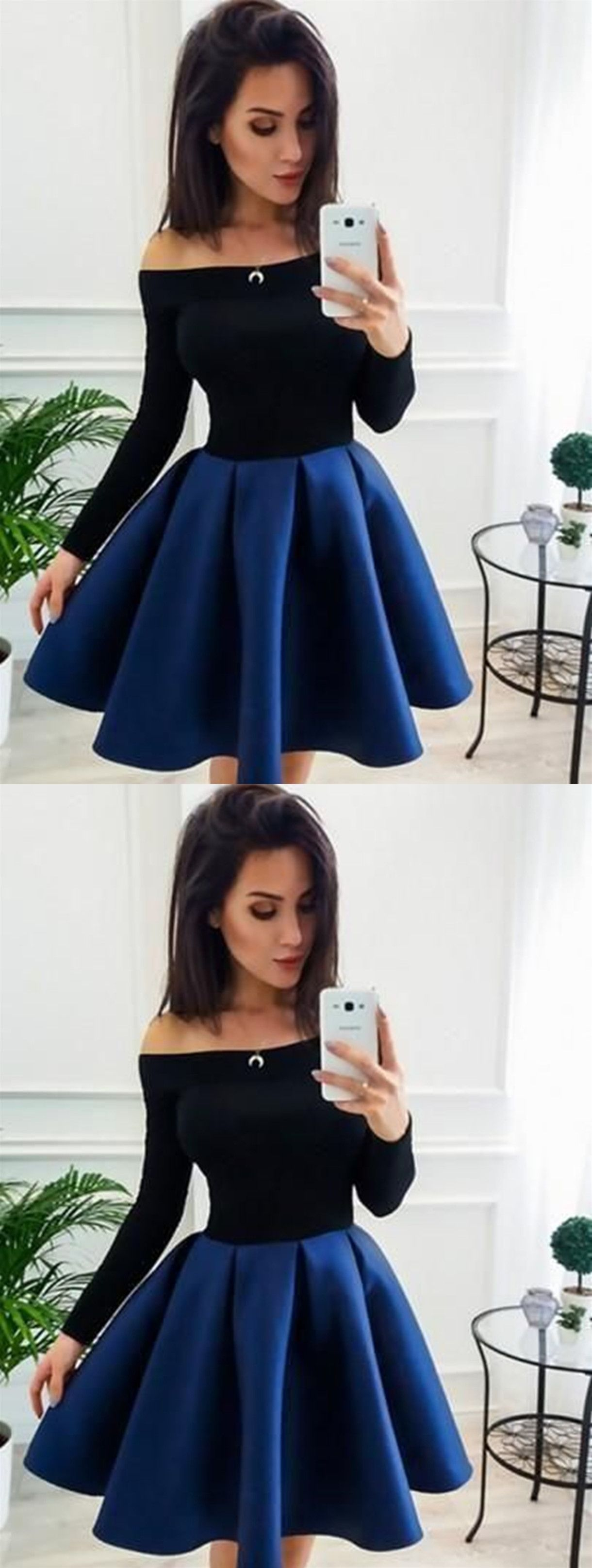 A line long sleeves short blue prom dresses short blue